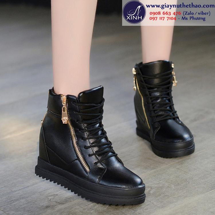 Giày thể thao nữ tăng chiều cao màu đen GTT2002