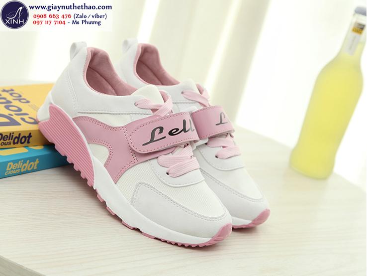 Giày thể thao nữ Xì teen màu trắng hồng GTT2101