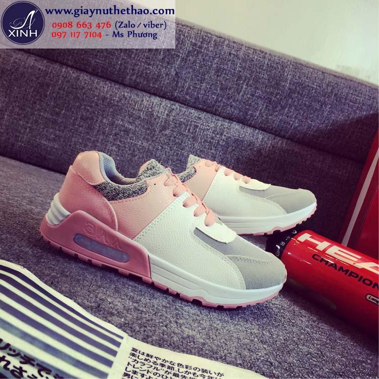 Giày thể thao nữ năng động trắng hồng GTT2202