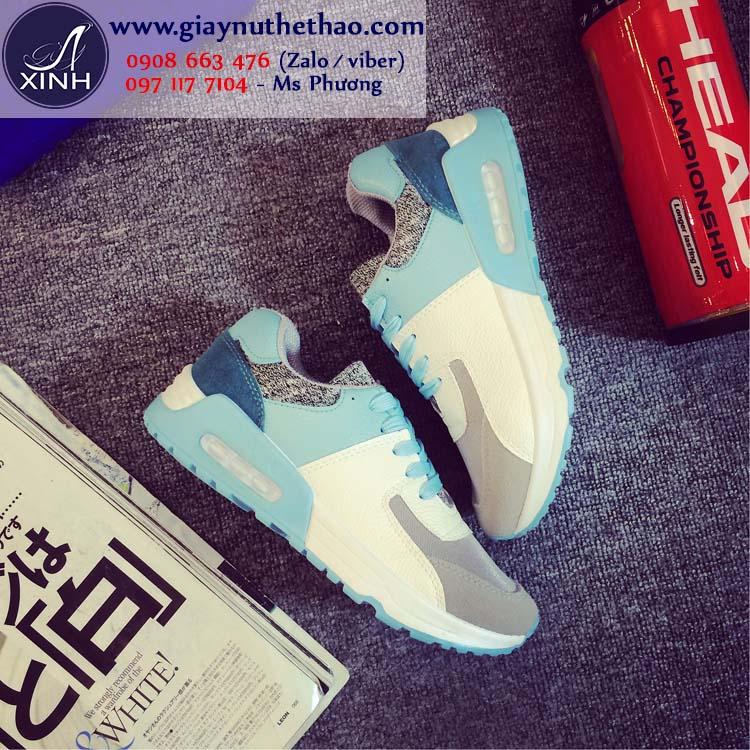 Giày thể thao nữ năng động trắng xanh GTT2201