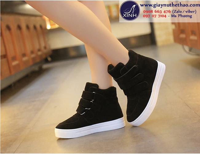 Giày thể thao nữ cổ cao màu đen độn đế đơn giản GTT2301
