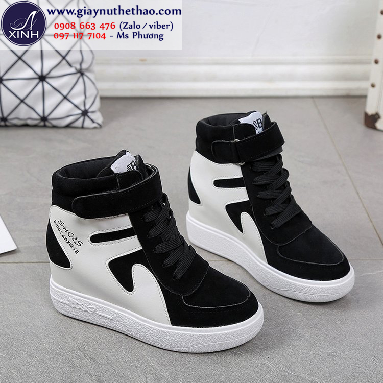 Giày thể thao nữ cổ cao độn đế năng động màu đen GTT2401