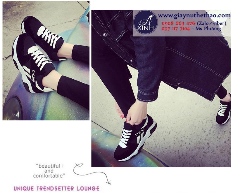 Giày thể thao nữ sọc trắng đen dễ thương GTT3301