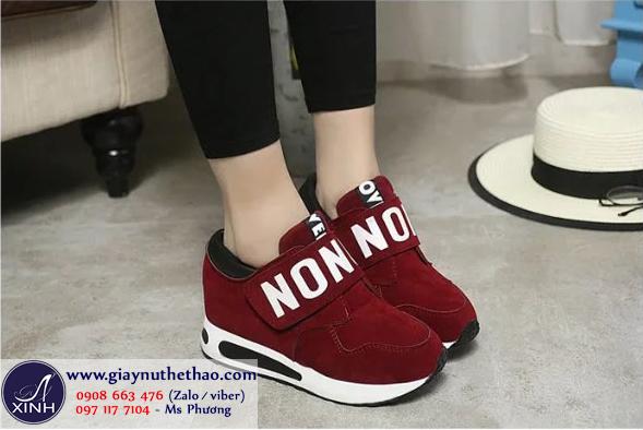 Giày thể thao nữ nâng đế màu nâu GTT4201