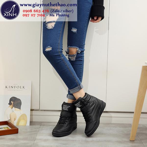 Giày thể thao nữ độn đế cổ cao màu đen GTT4301