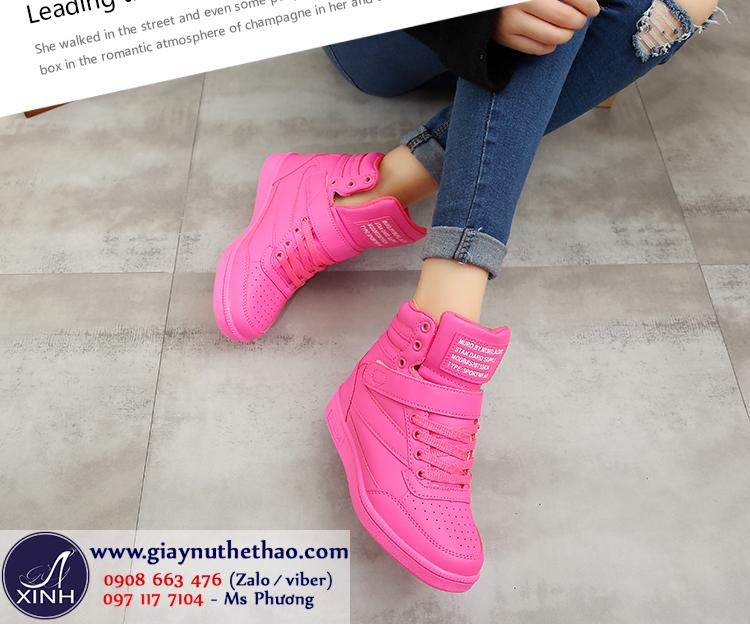 Giày thể thao nữ độn đế cổ cao màu hồng GTT4303