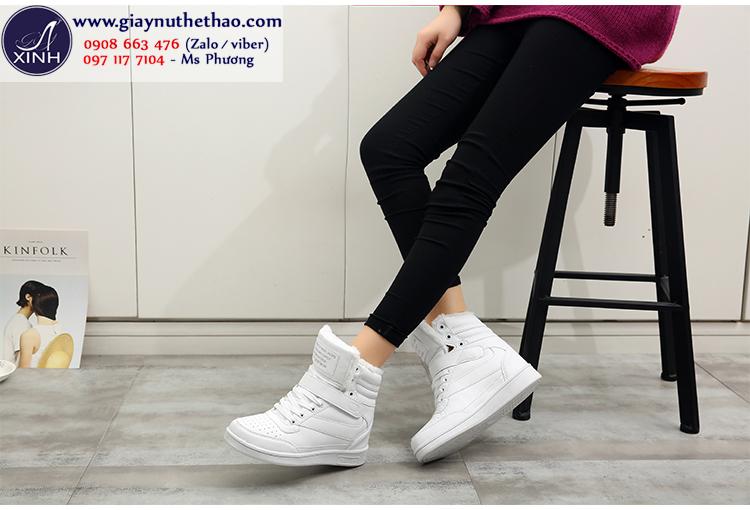 Giày thể thao nữ độn đế cổ cao màu trắng GTT4302