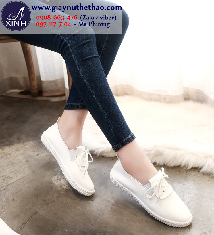 Giày thể thao nữ đế bệt màu trắng xinh xắn GTT4501