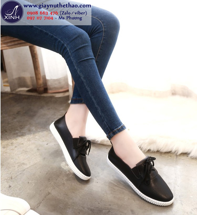 Giày thể thao nữ đế bệt màu đen xinh xắn GTT4502