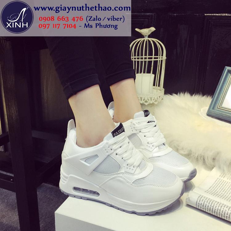 Giày thể thao nữ màu trắng đế cao trẻ trung GTT4901
