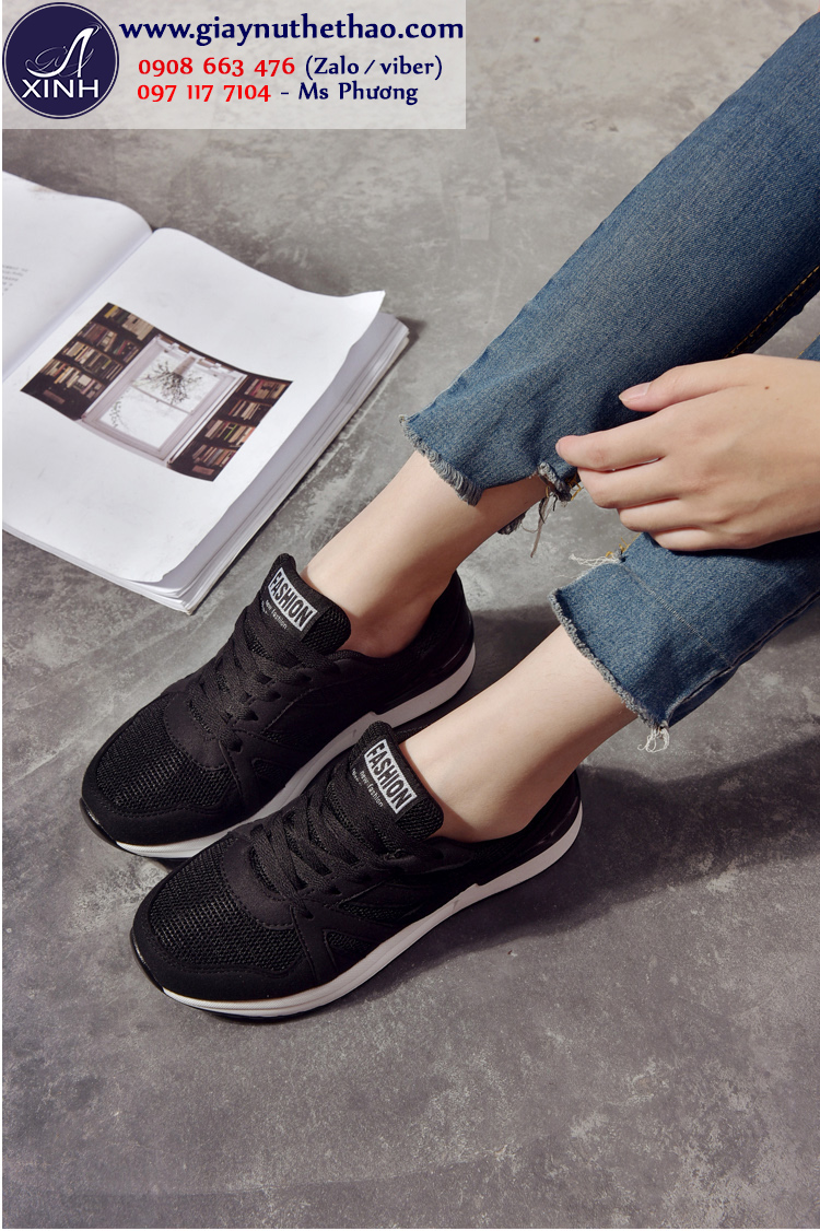 Giày thể thao nữ màu đen sành điệu GTT5401