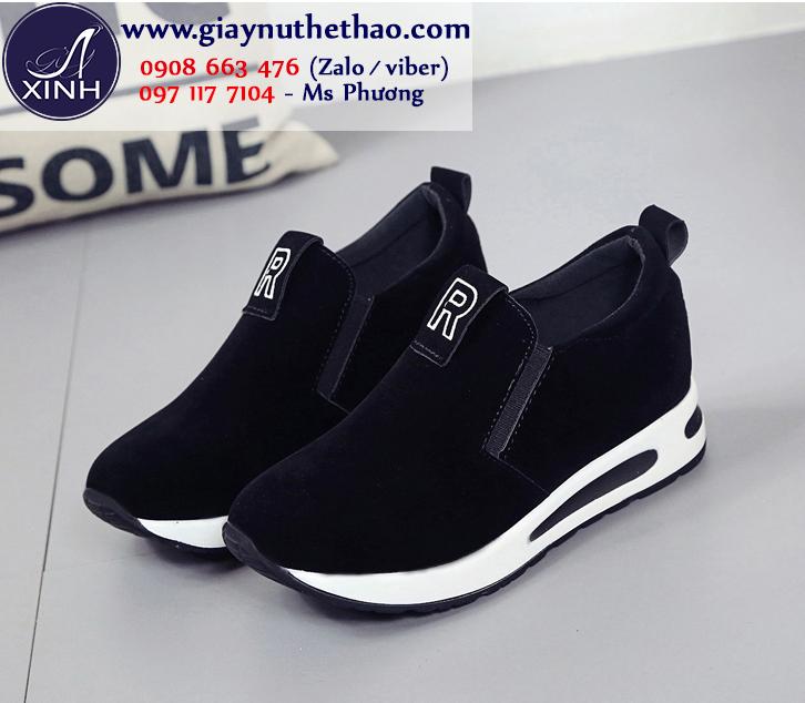 Giày thể thao nữ độn đế màu đen xinh xắn GTT5701