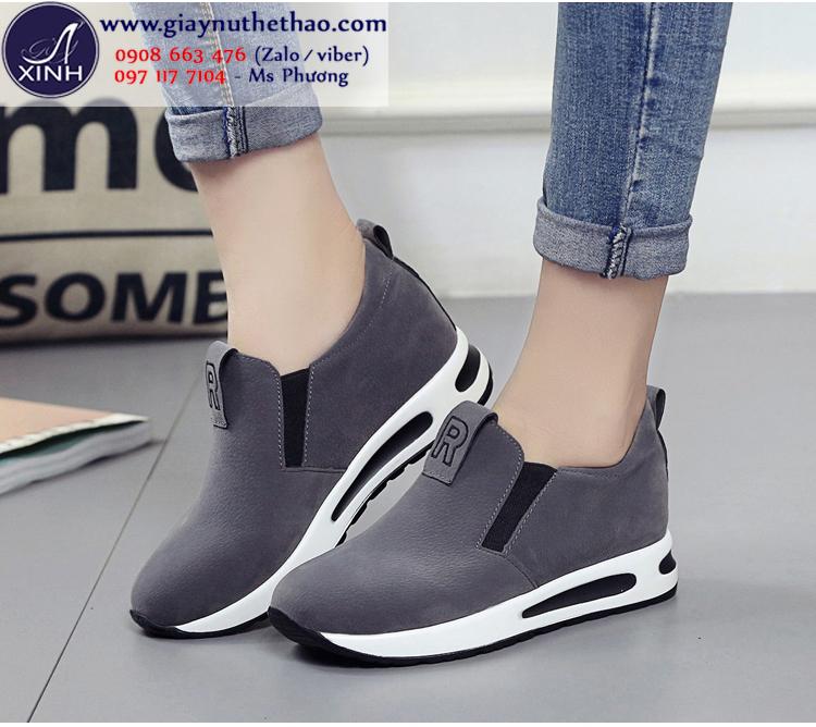 Giày thể thao nữ độn đế màu xám hiện đại GTT5702