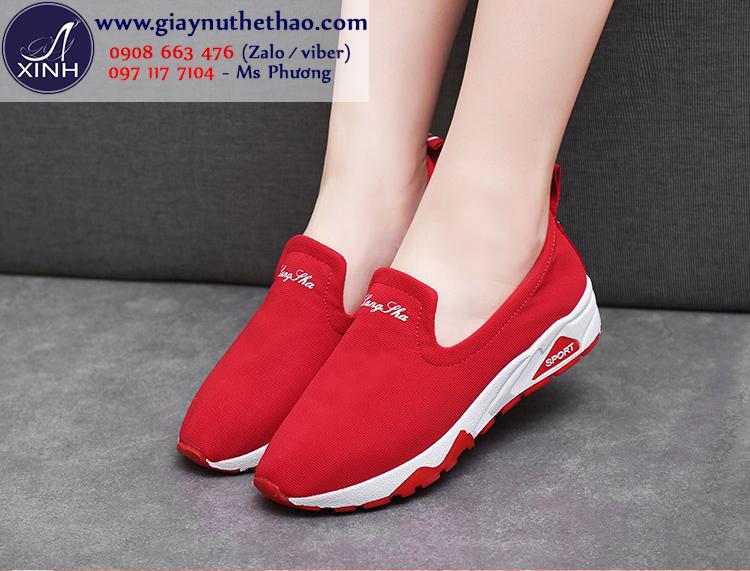 Giày slip on thể thao màu đỏ tương tắn GTT5803