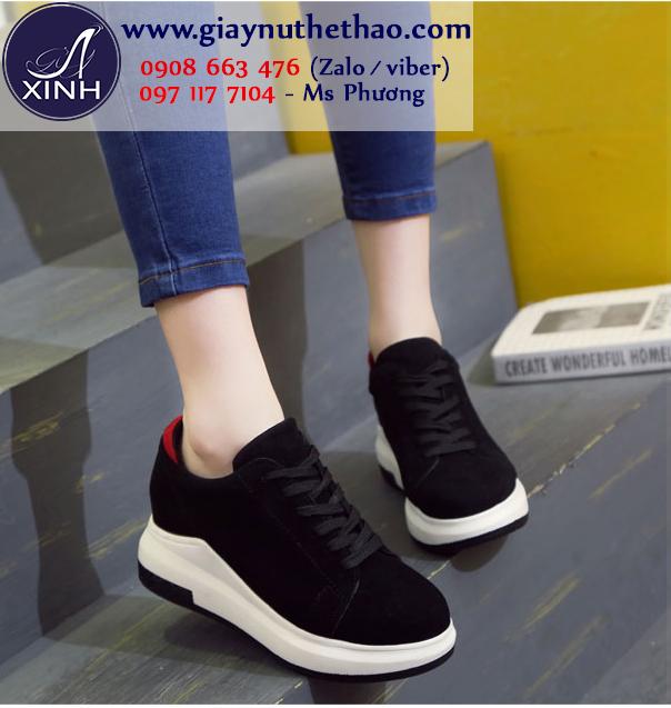 Giày thể thao nữ độn đế màu đen hiện đại GTT6301